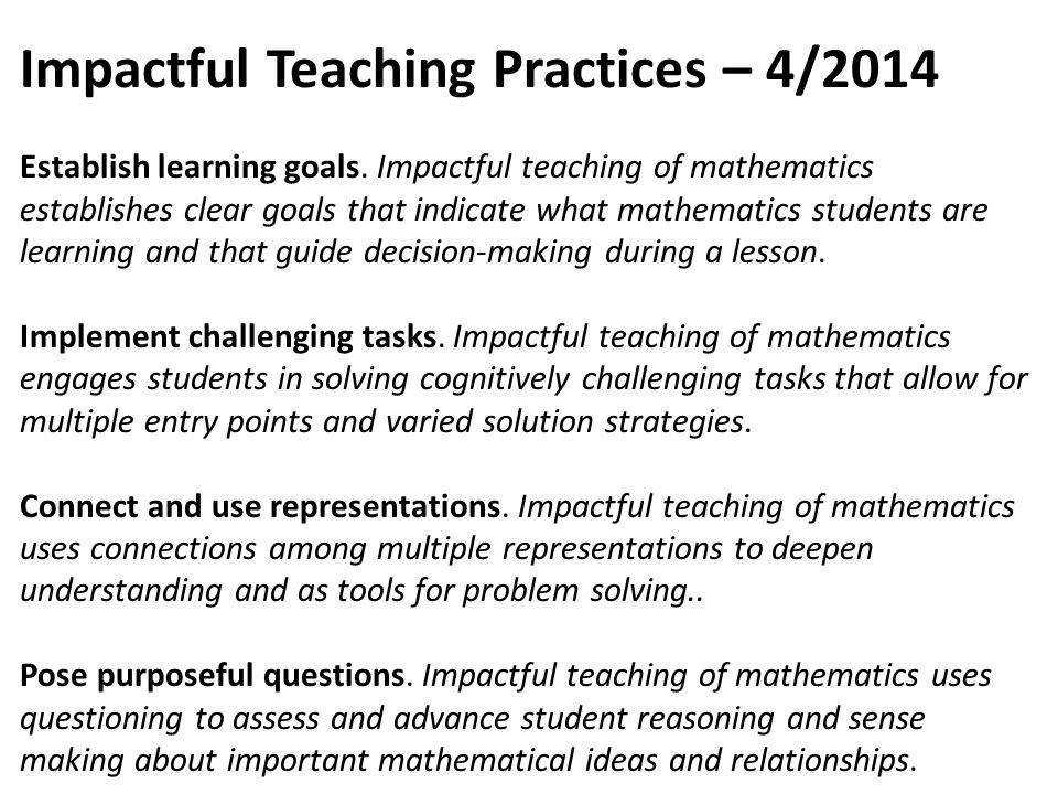 Impactful Teaching Practices – 4/2014
