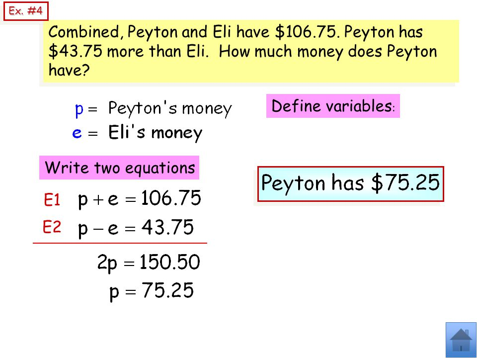 Ex. #4 Combined, Peyton and Eli have $106.75. Peyton has $43.75 more than Eli. How much money does Peyton have