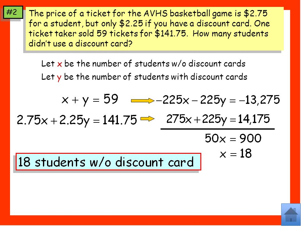 Let x be the number of students w/o discount cards