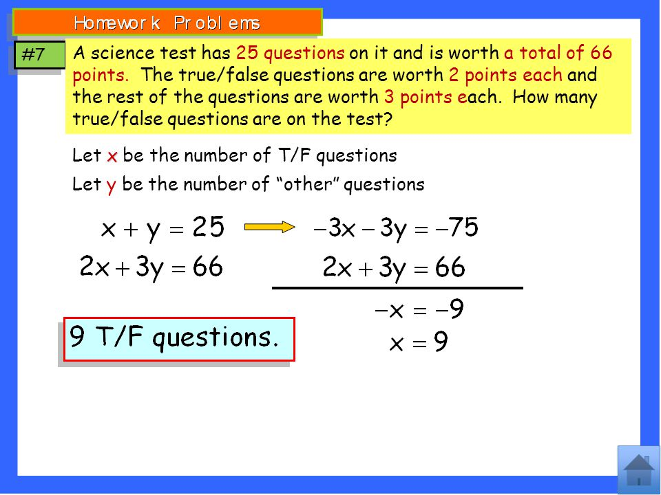 Let x be the number of T/F questions