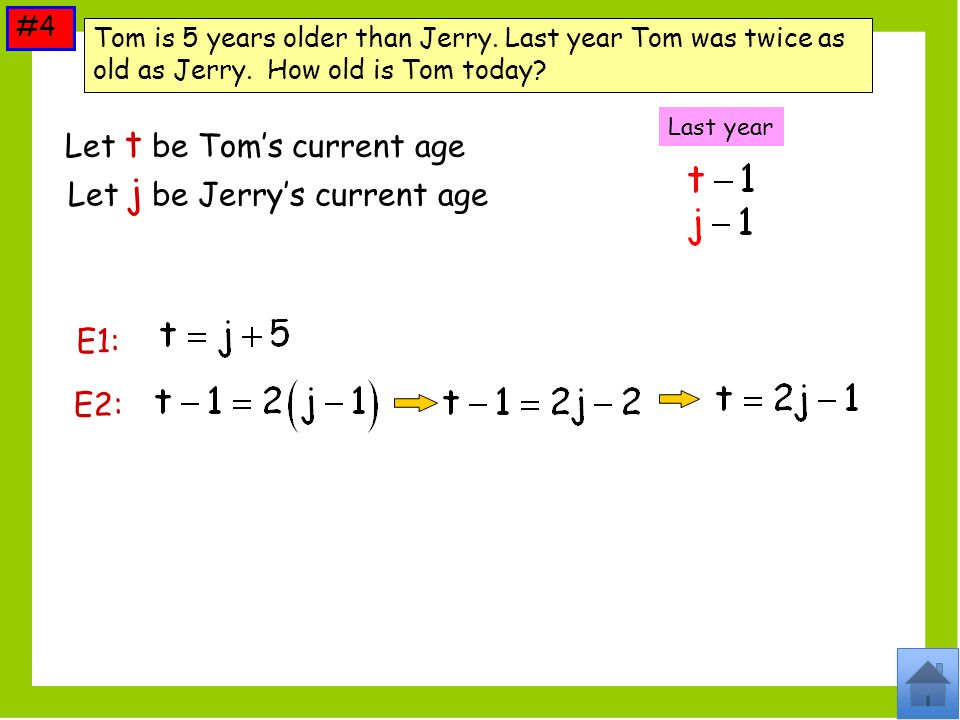 Let t be Tom's current age