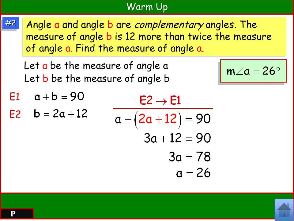 Let a be the measure of angle a Let b be the measure of angle b