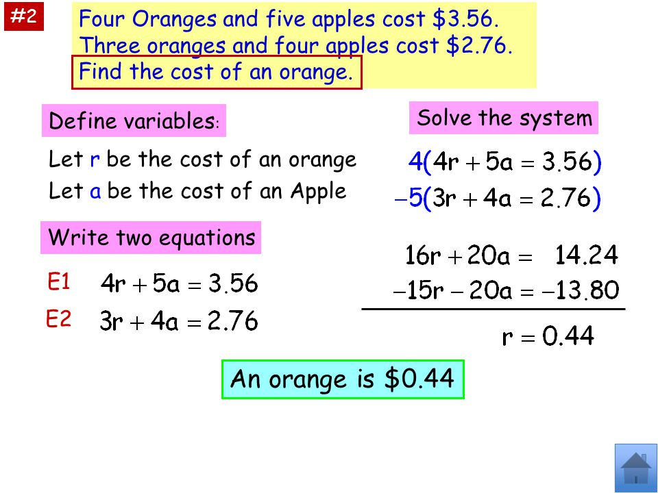 #2 Four Oranges and five apples cost $3.56. Three oranges and four apples cost $2.76. Find the cost of an orange.
