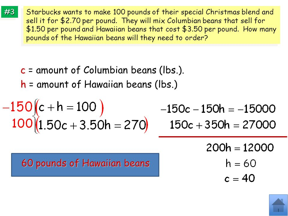 c = amount of Columbian beans (lbs.).