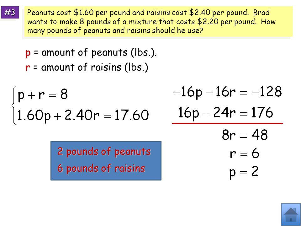 p = amount of peanuts (lbs.).