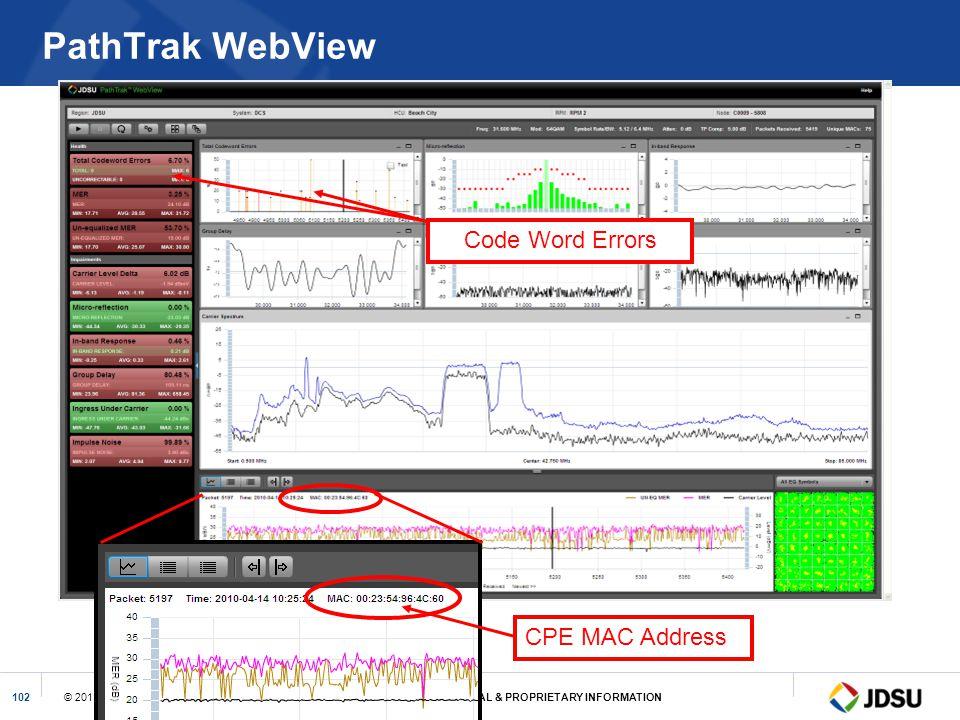 PathTrak WebView Code Word Errors CPE MAC Address