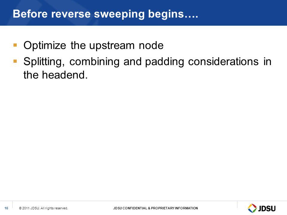 Before reverse sweeping begins….