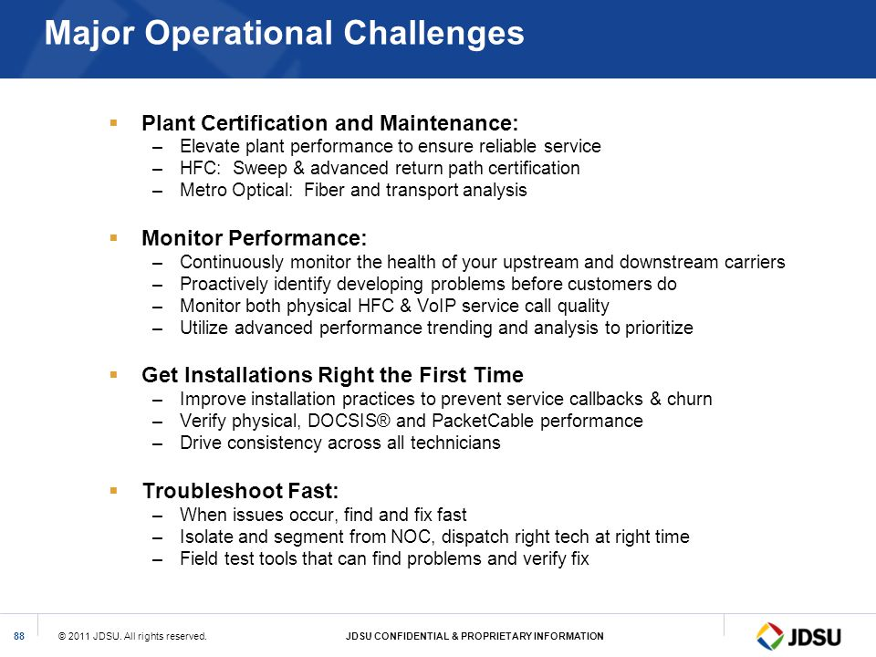 Major Operational Challenges