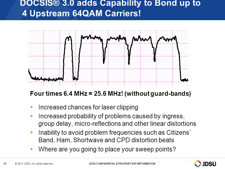 DOCSIS® 3.0 adds Capability to Bond up to 4 Upstream 64QAM Carriers!