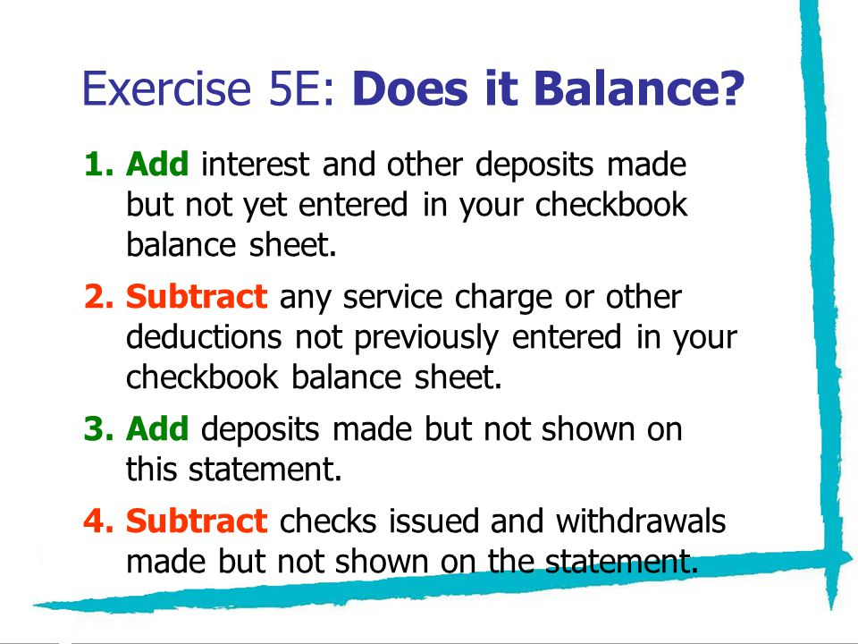 Exercise 5E: Does it Balance