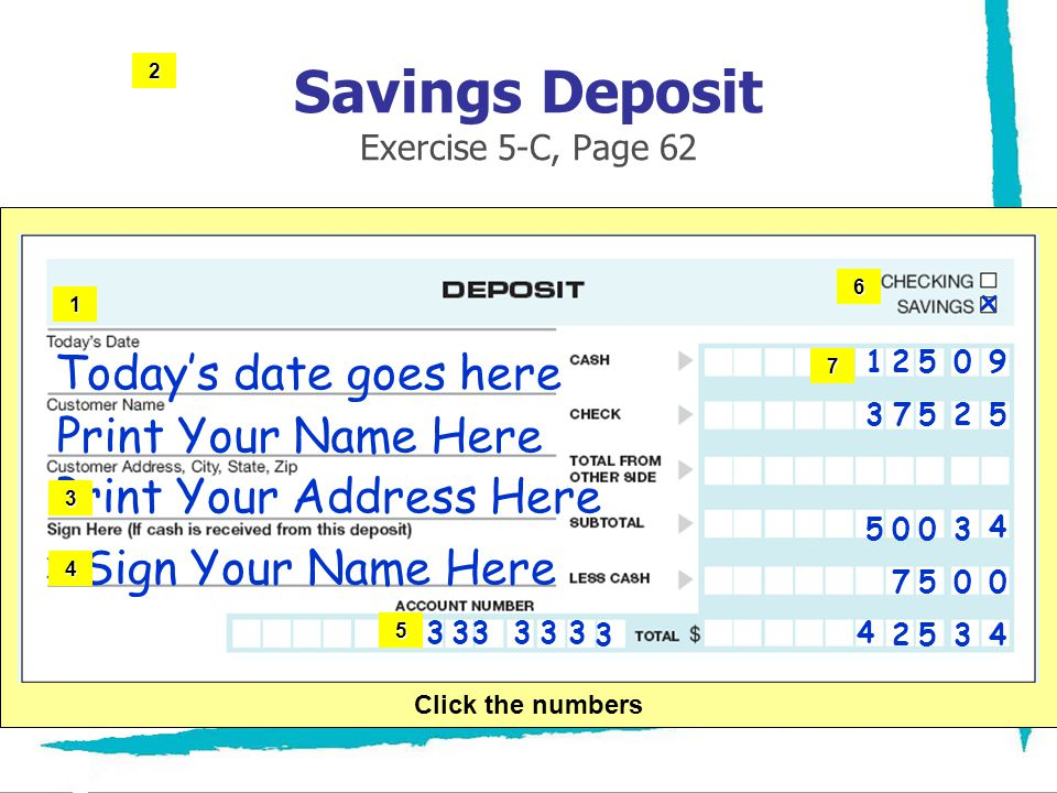 Savings Deposit Exercise 5-C, Page 62