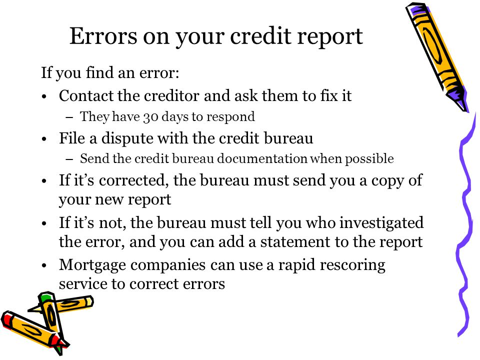 Errors on your credit report
