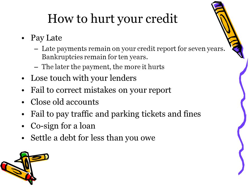 How to hurt your credit Pay Late Lose touch with your lenders