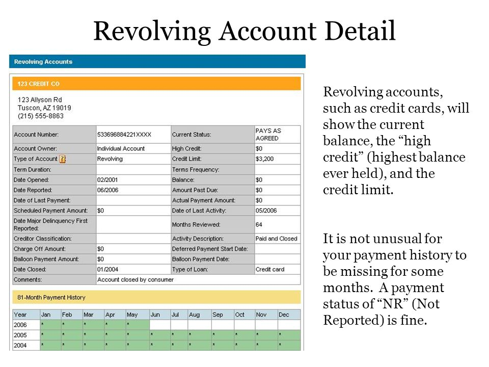 Revolving Account Detail