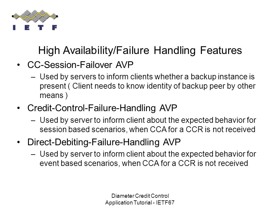High Availability/Failure Handling Features