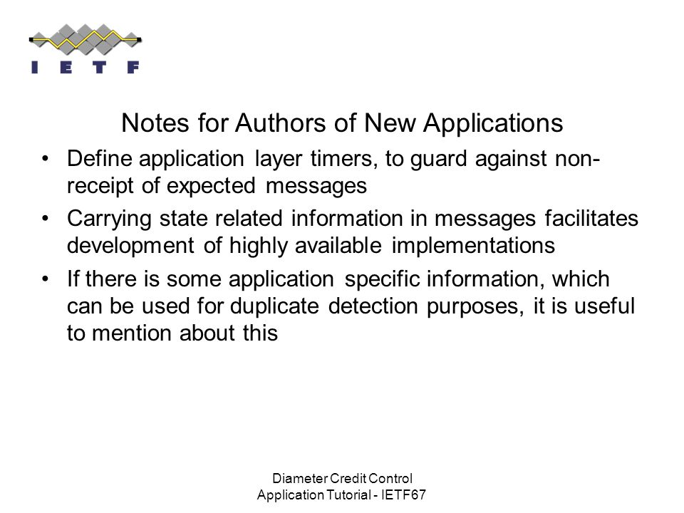 Notes for Authors of New Applications