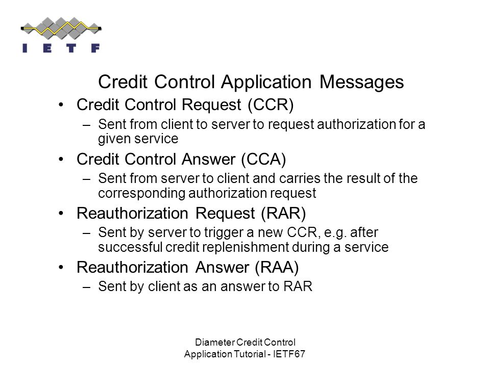 Credit Control Application Messages
