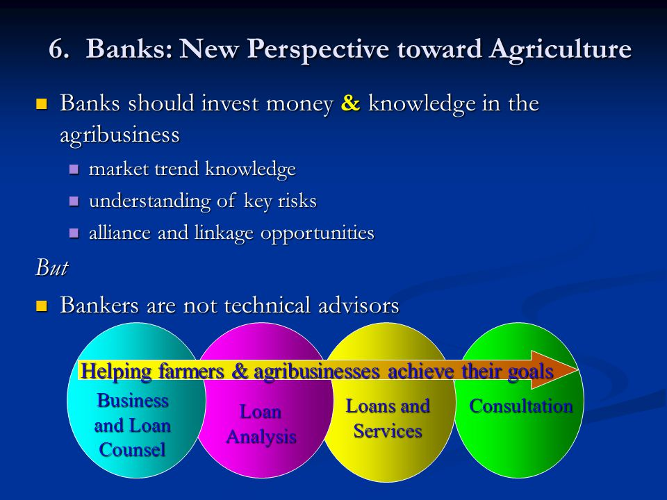 6. Banks: New Perspective toward Agriculture