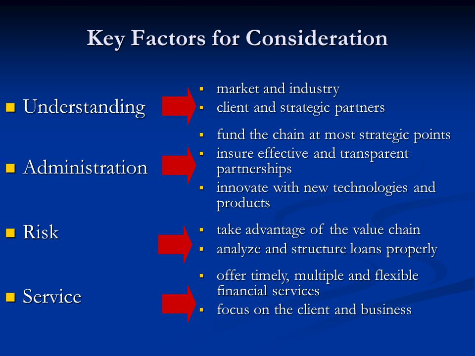 Key Factors for Consideration