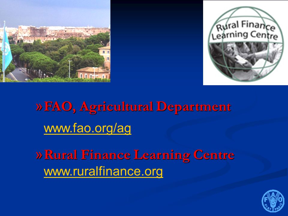FAO, Agricultural Department www.fao.org/ag