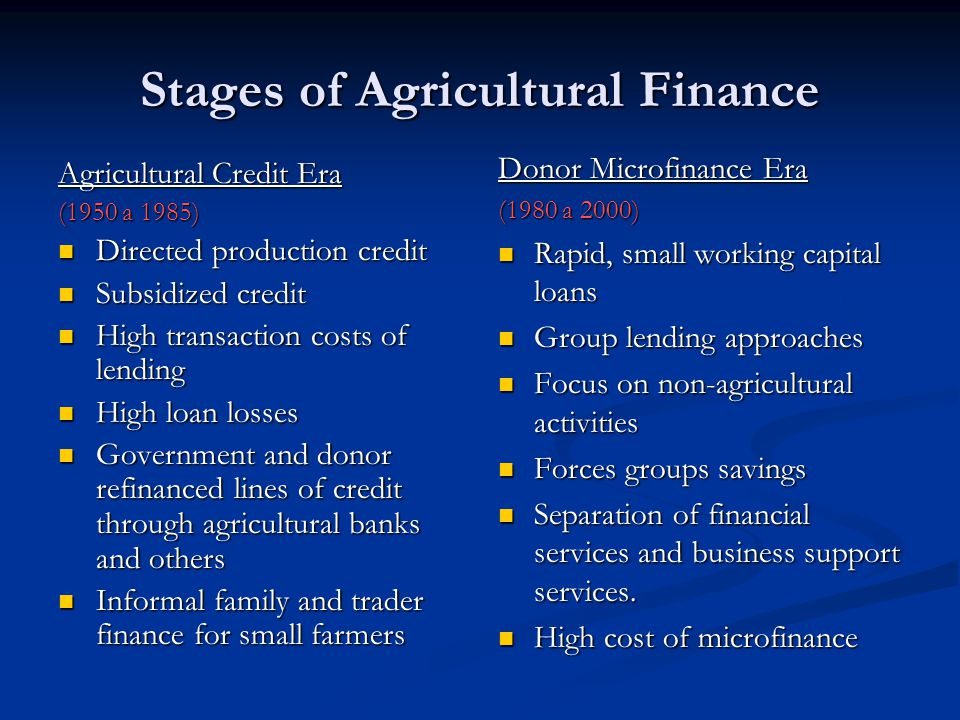 Stages of Agricultural Finance