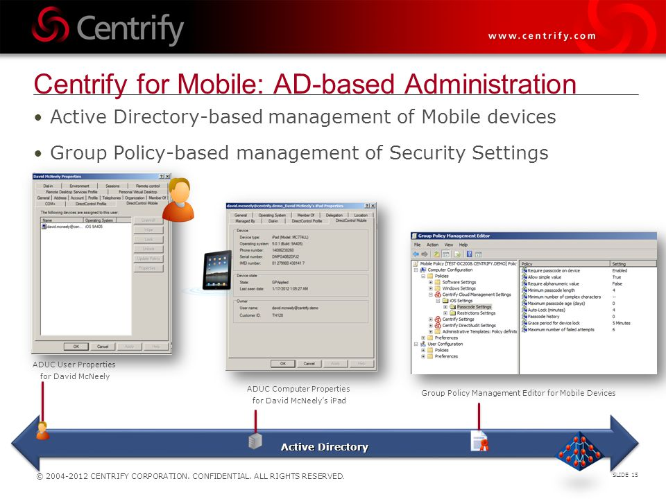 Centrify for Mobile: AD-based Administration