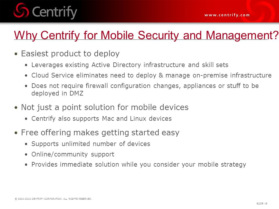Why Centrify for Mobile Security and Management