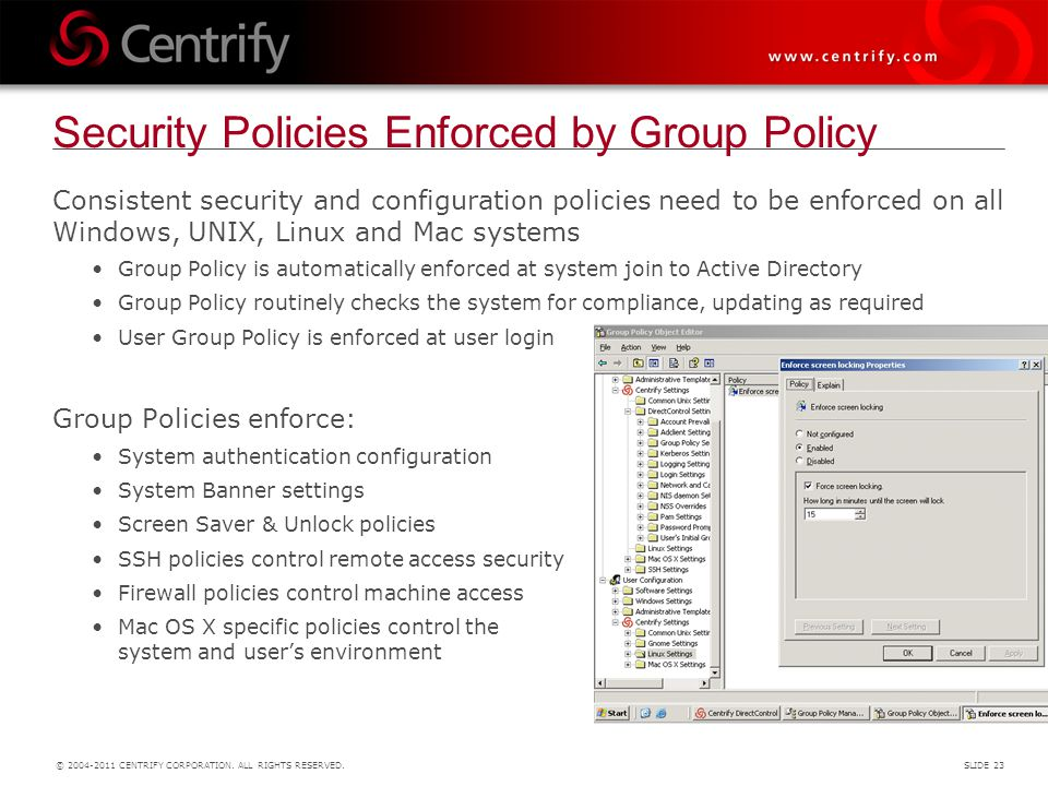 Security Policies Enforced by Group Policy