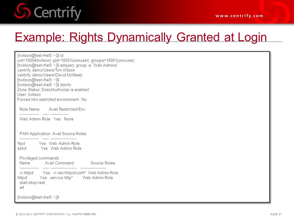 Example: Rights Dynamically Granted at Login