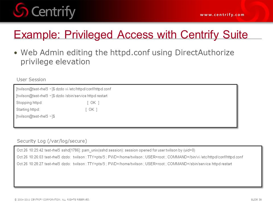 Example: Privileged Access with Centrify Suite