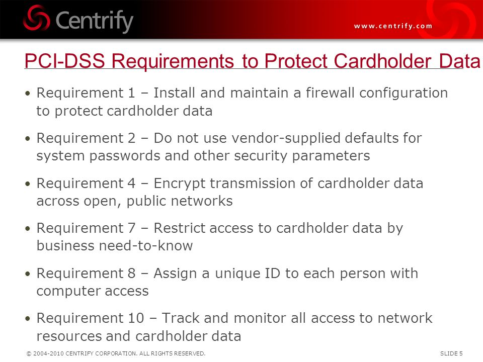 PCI-DSS Requirements to Protect Cardholder Data