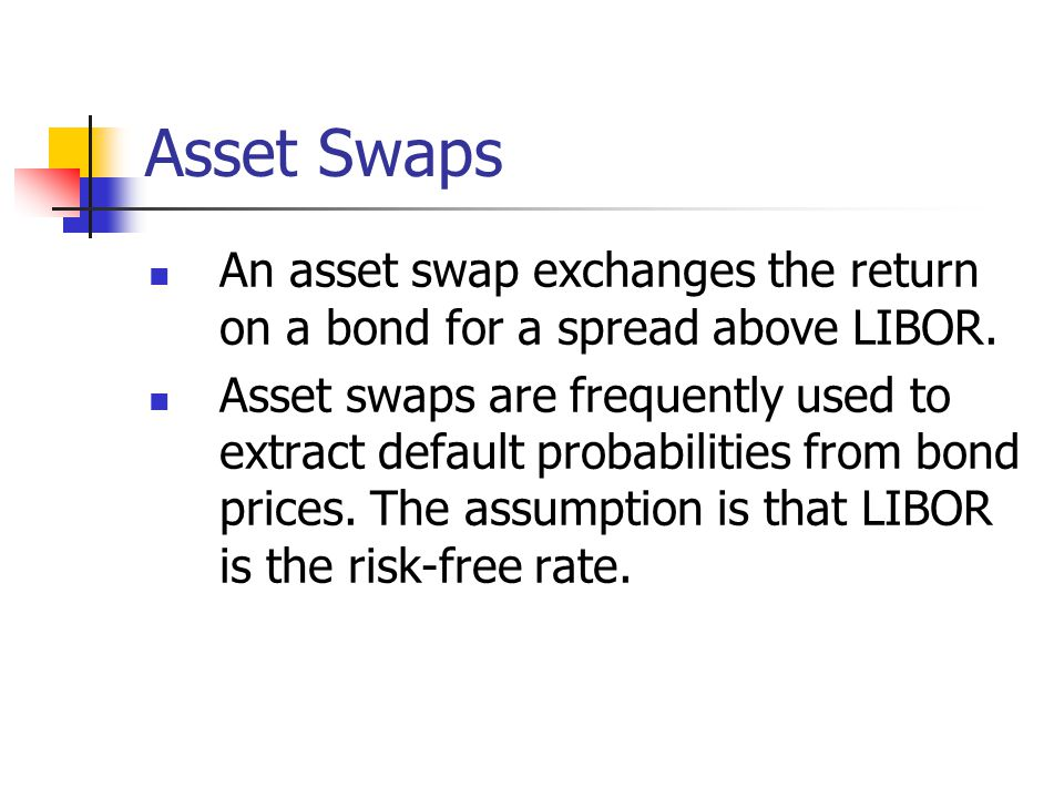 Asset Swaps An asset swap exchanges the return on a bond for a spread above LIBOR.