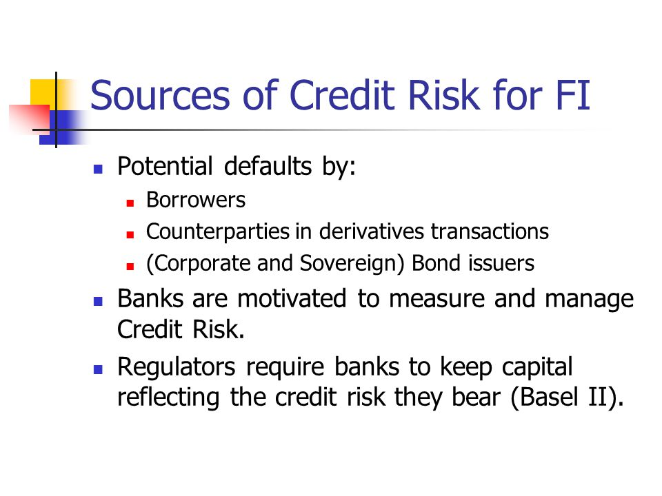 Sources of Credit Risk for FI