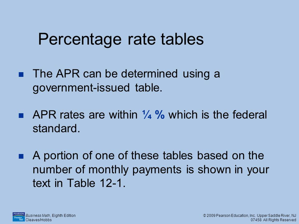Percentage rate tables