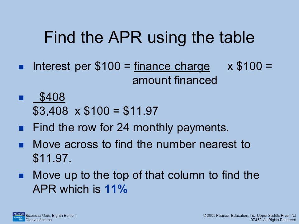 Find the APR using the table
