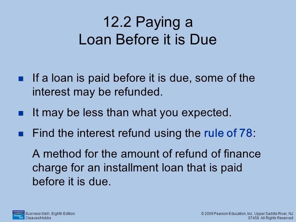 12.2 Paying a Loan Before it is Due