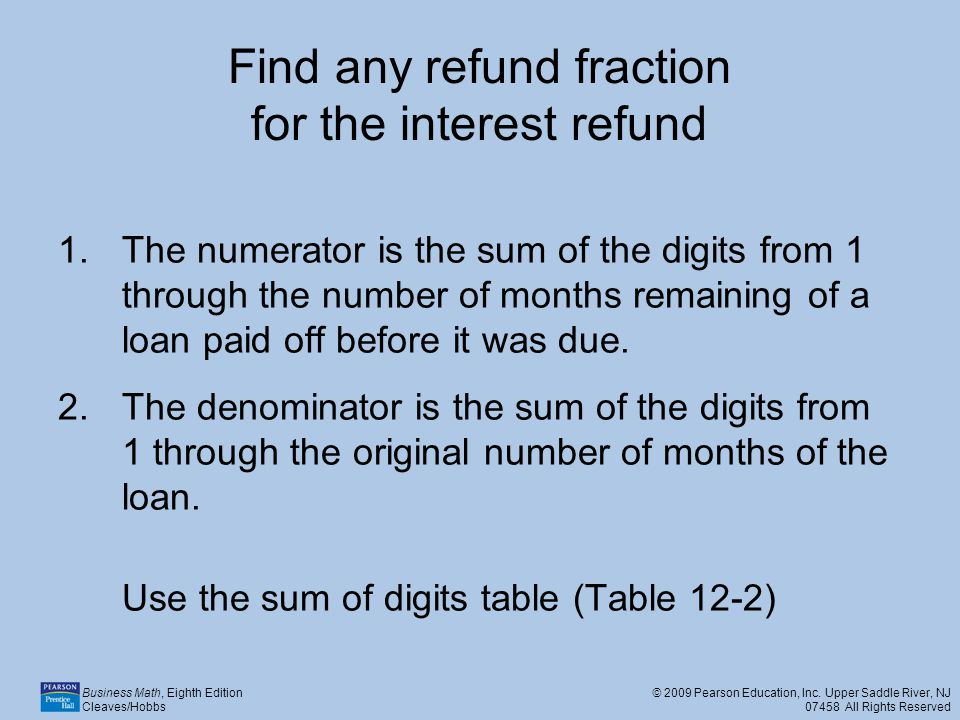 Find any refund fraction for the interest refund
