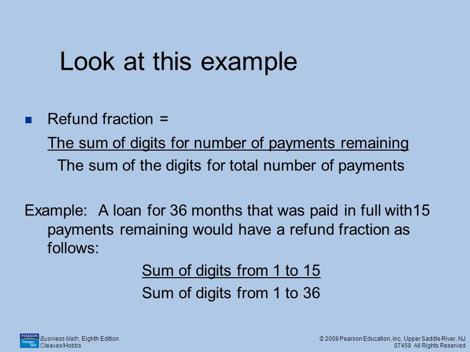 The sum of the digits for total number of payments