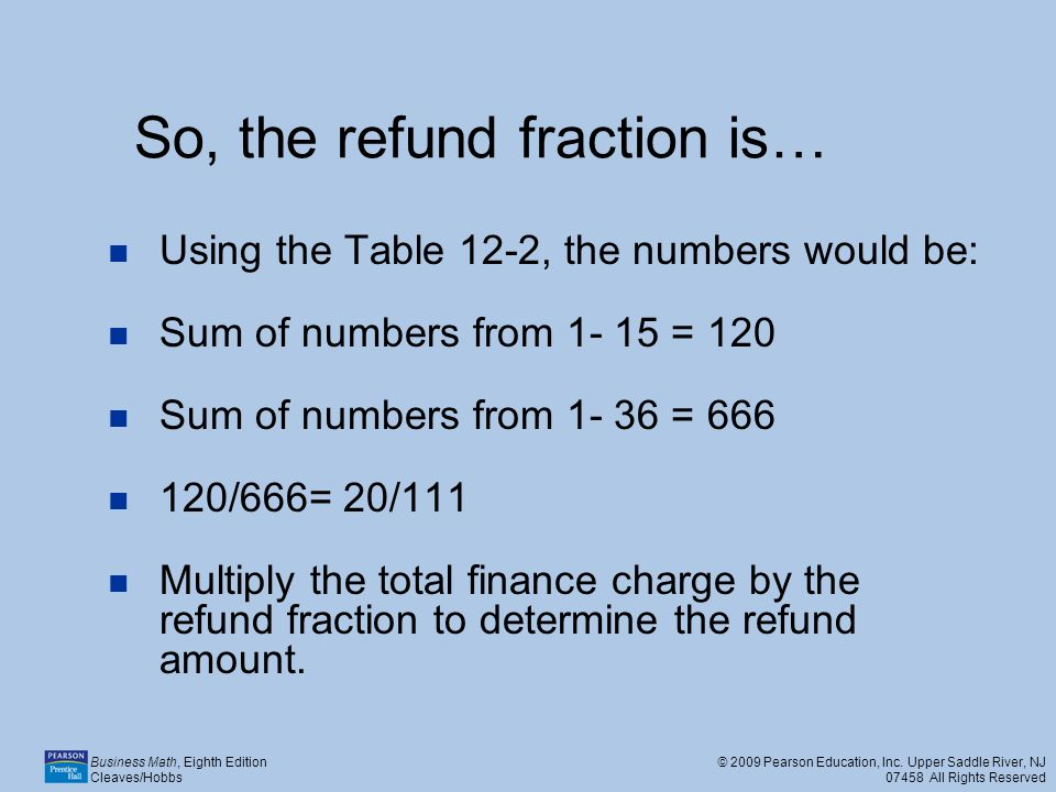 So, the refund fraction is…