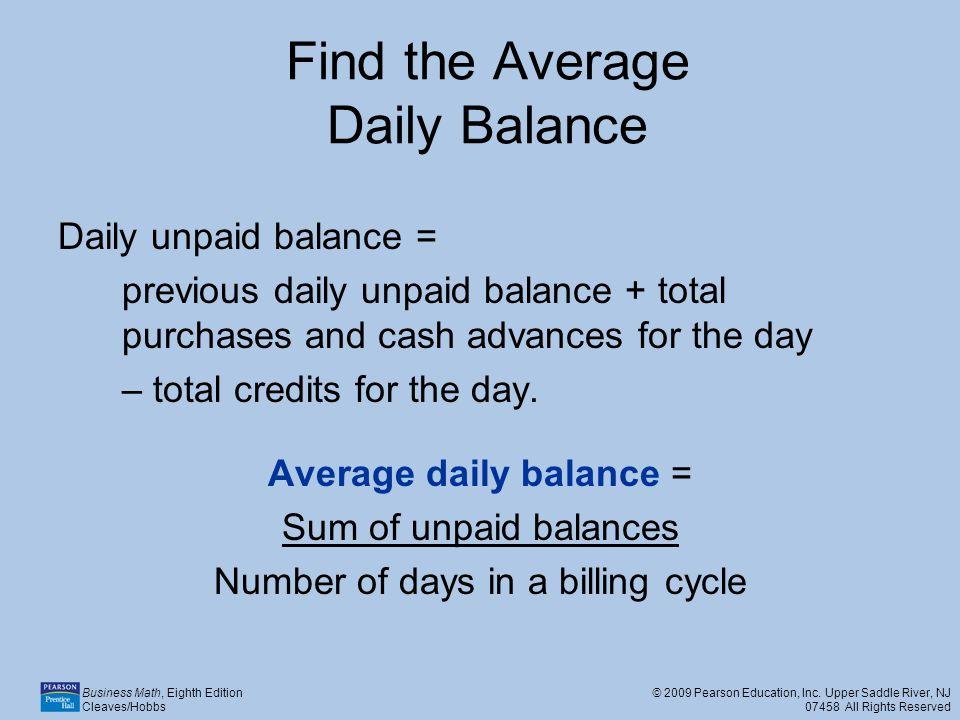 Find the Average Daily Balance