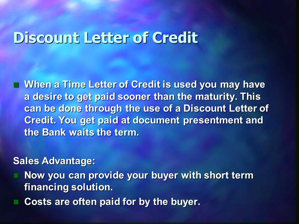 Discount Letter of Credit