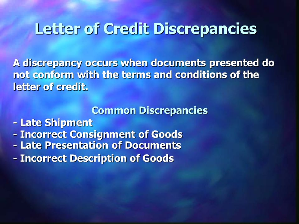 Letter of Credit Discrepancies