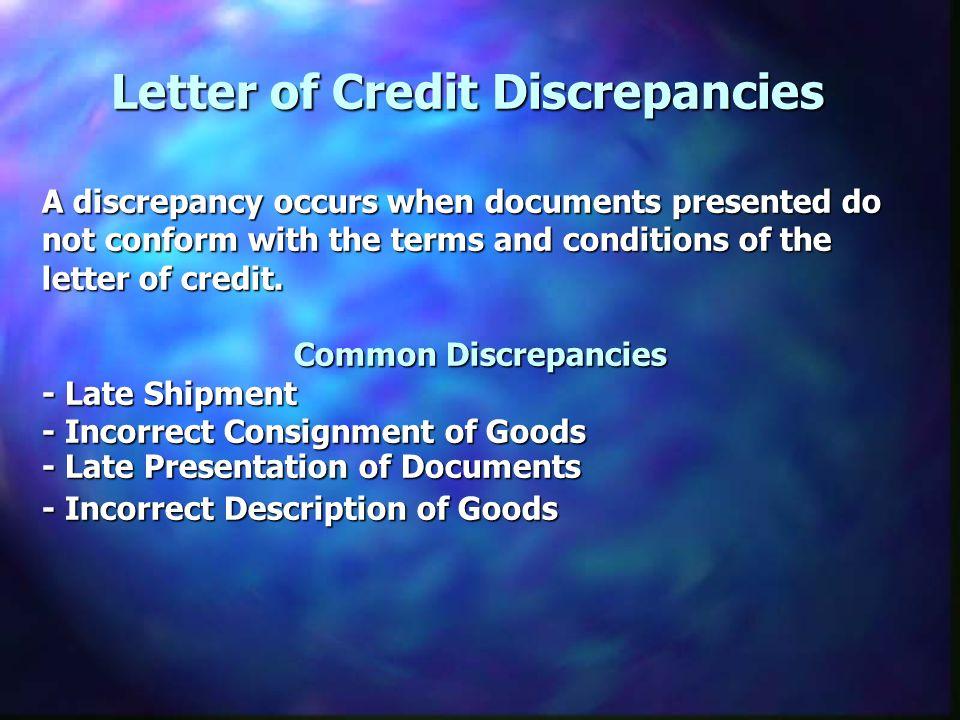 Letter of Credit Discrepancies