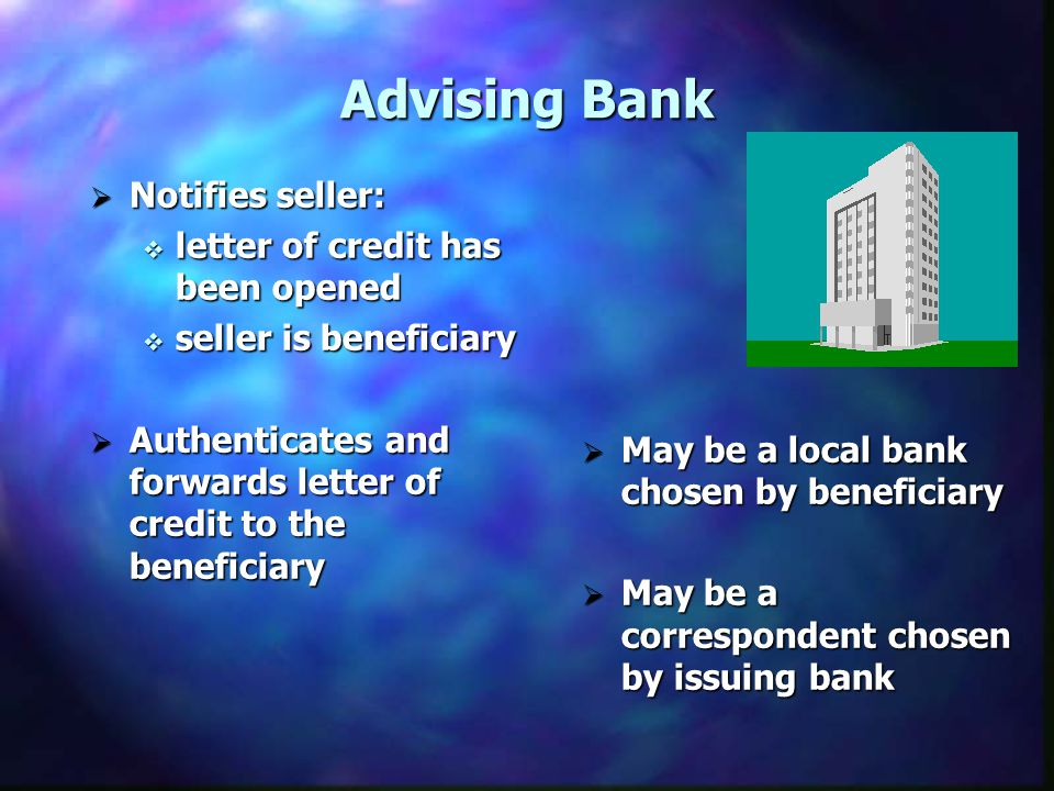 Advising Bank Notifies seller: letter of credit has been opened