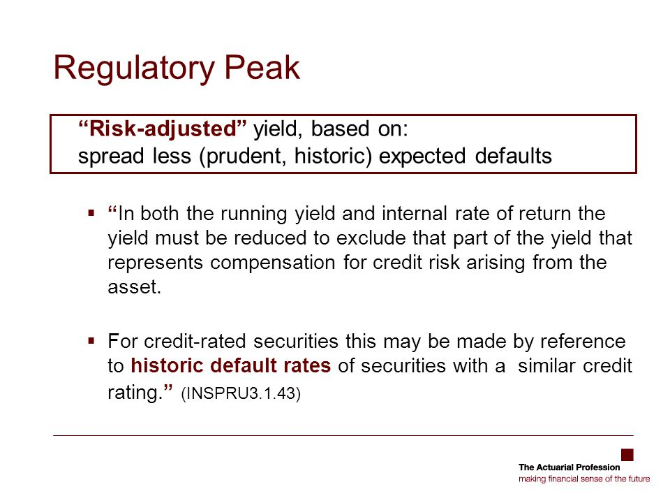 Regulatory Peak Risk-adjusted yield, based on: spread less (prudent, historic) expected defaults.