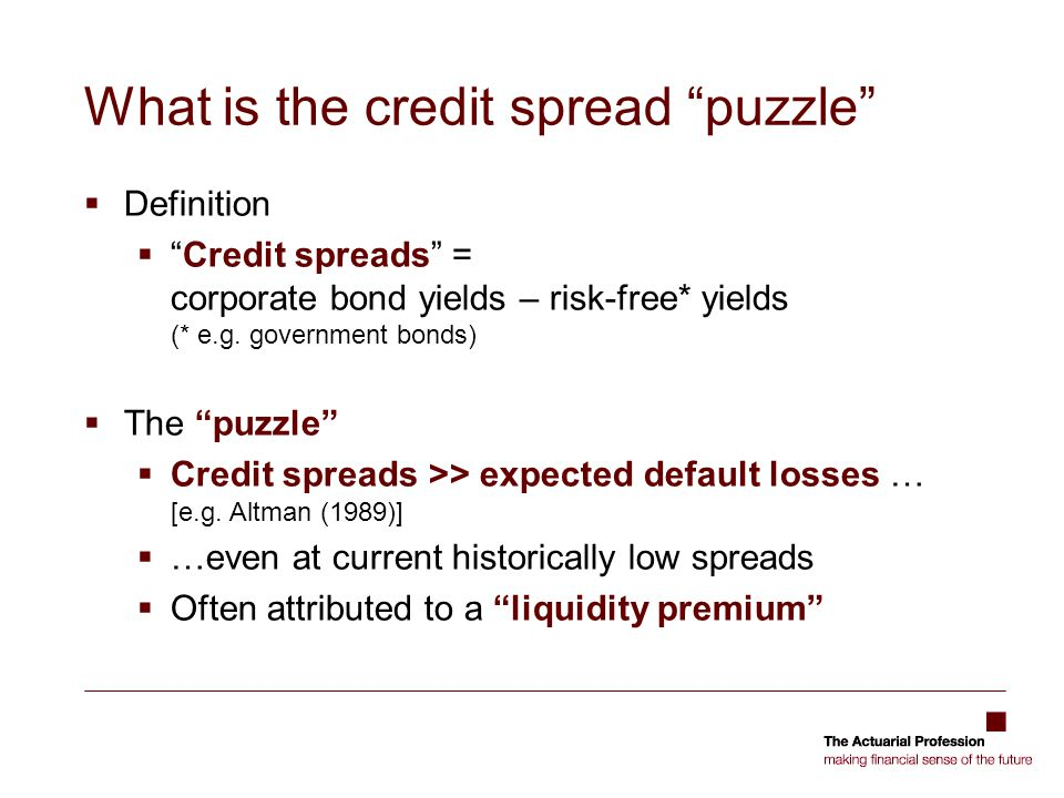 What is the credit spread puzzle