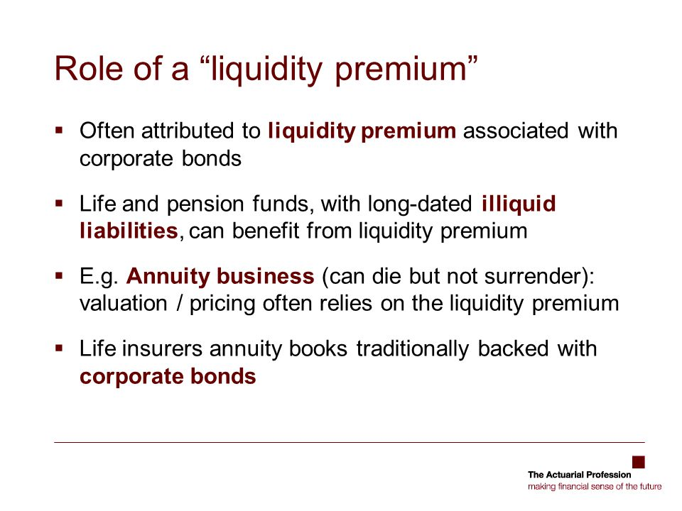 Role of a liquidity premium