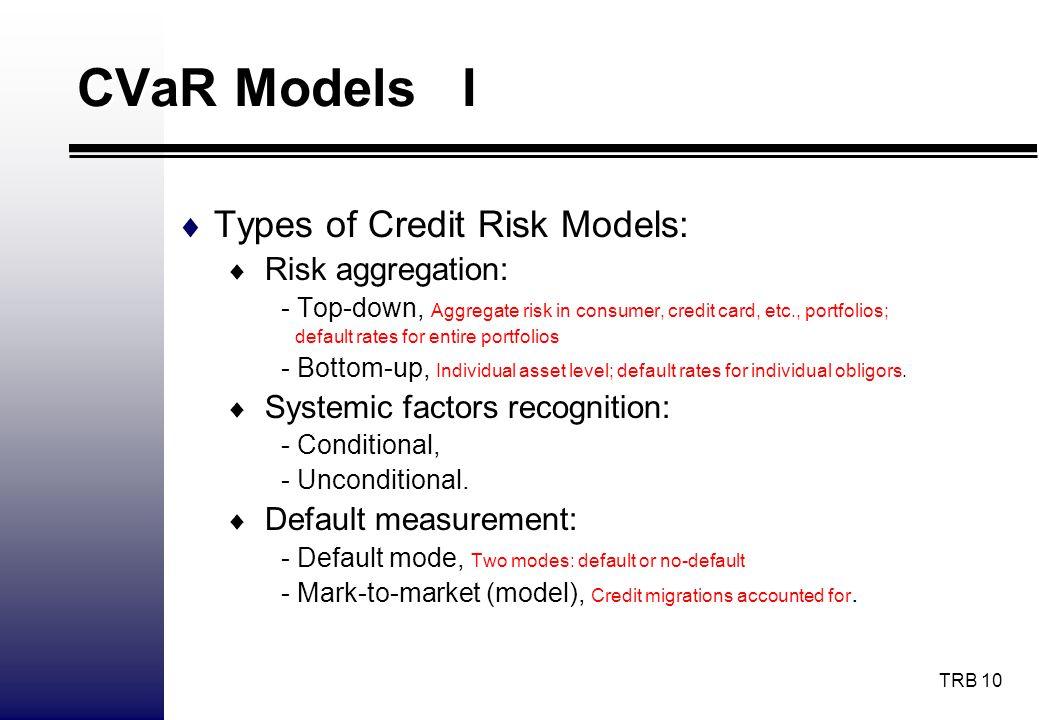 CVaR Models I Types of Credit Risk Models: Risk aggregation: