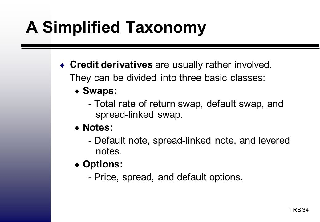 A Simplified Taxonomy Credit derivatives are usually rather involved.
