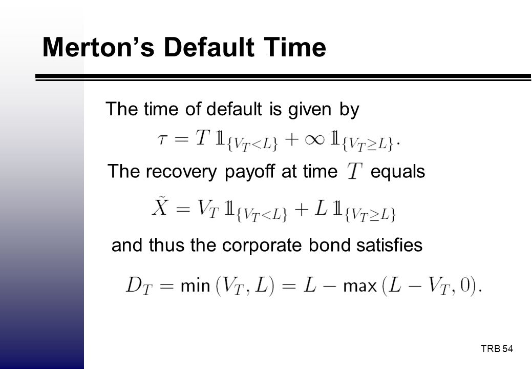 Merton's Default Time The time of default is given by